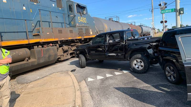 Rosswood near Assembly temporarily closed due to vehicle collision with train