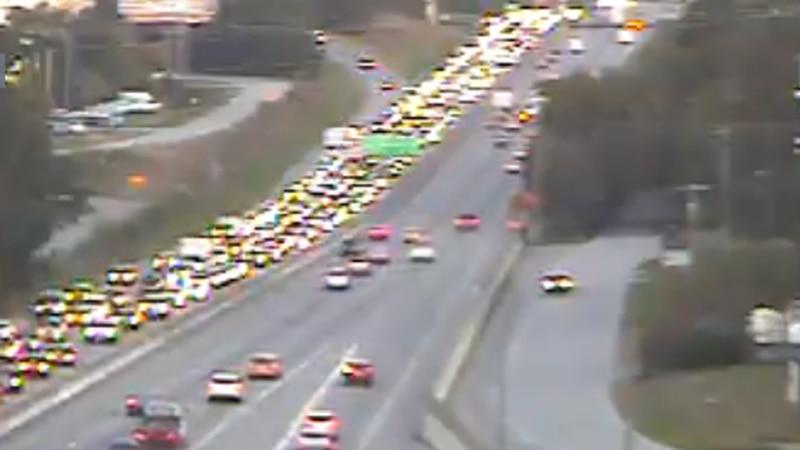 Traffic at standstill after crash on I-26 West
