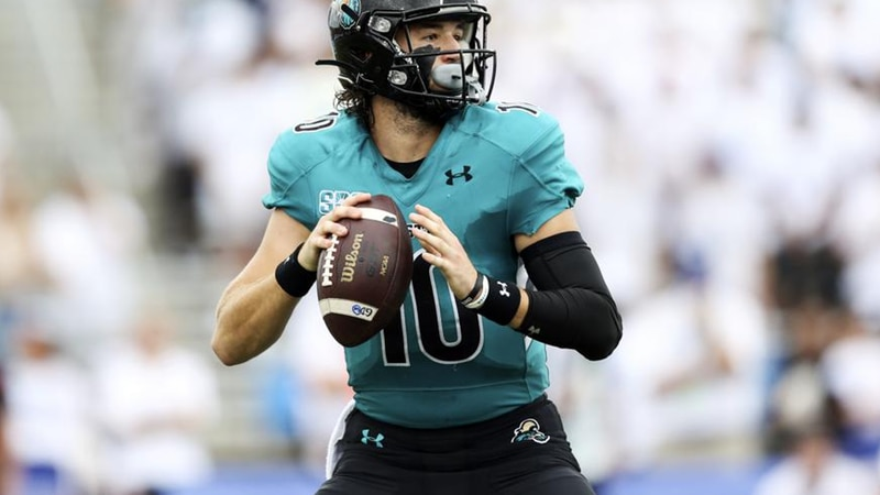 Coastal Carolina quarterback Grayson McCall (10) looks to pass during the first half of a NCAA...