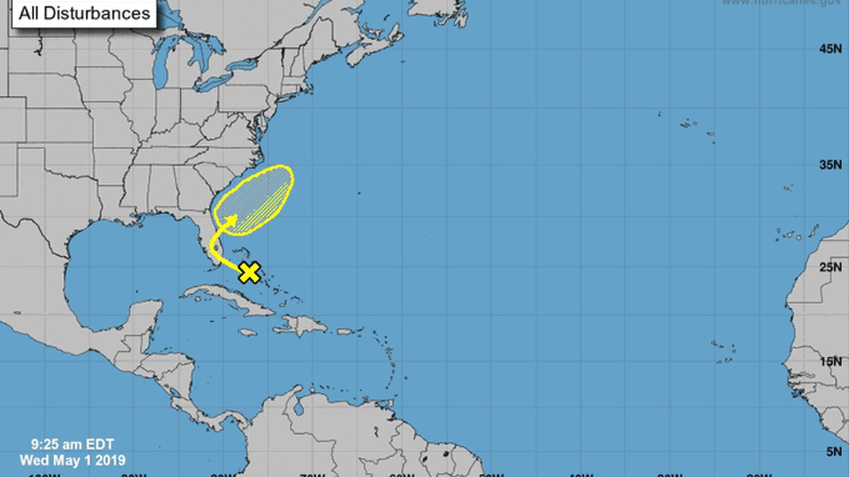 NHC says the weather area is over the northwest Bahamas and may become a tropical cyclone as it...