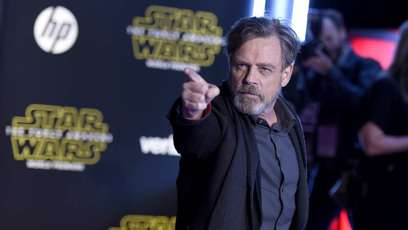 """FILE - In this Dec. 14, 2015, file photo, Mark Hamill arrives at the world premiere of """"Star..."""