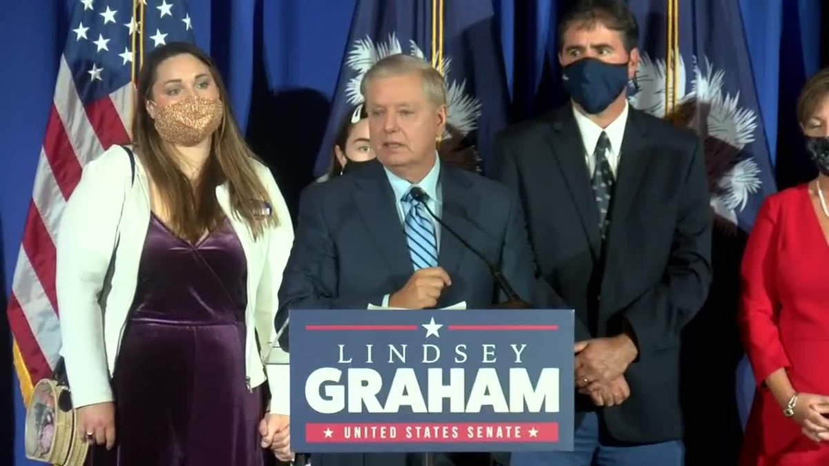 Sen. Lindsey Graham gives his victory speech after retaining his S.C. Senate seat.