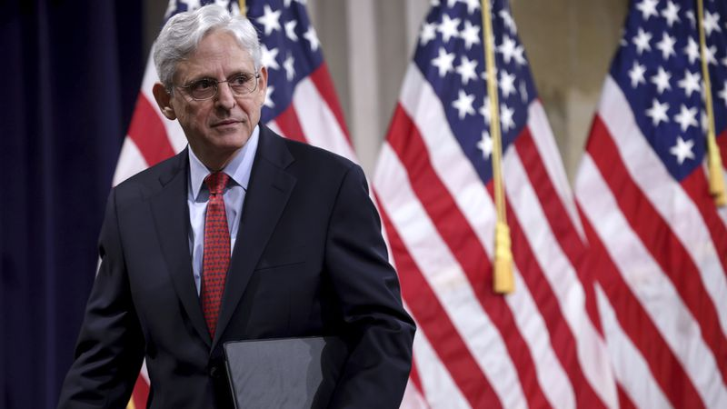 Attorney General Merrick Garland departs after speaking at the Justice Department in...
