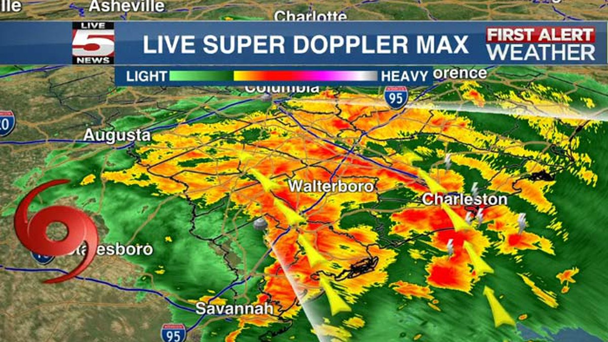 The National Weather Service issued a tornado warning for Charleston County until 2 a.m.