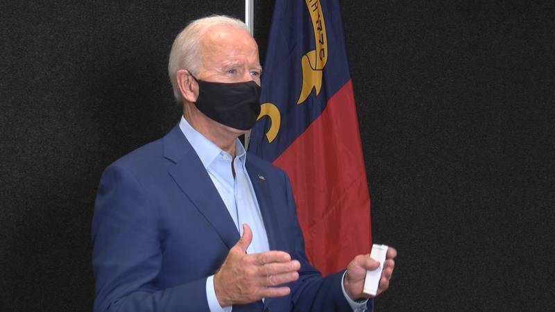 Democratic presidential candidate and former Vice President Joe Biden spoke to WBTV in a...