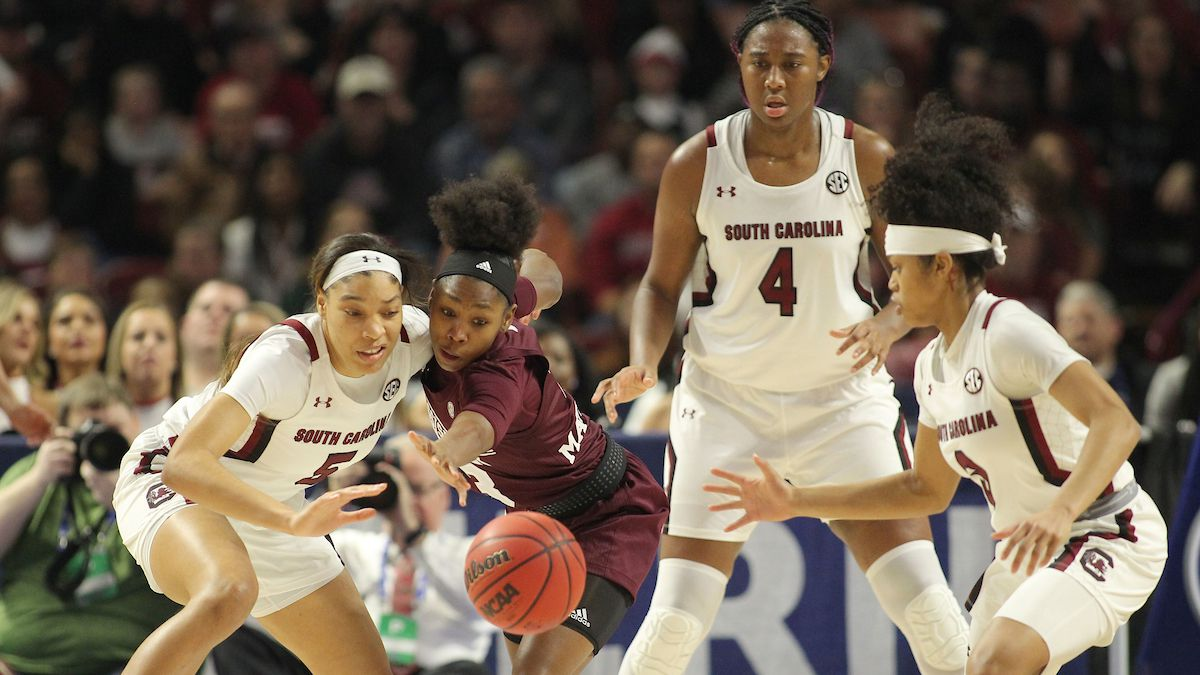 South Carolina forward Victaria Saxton (5) knocks the ball away from Mississippi State guard...