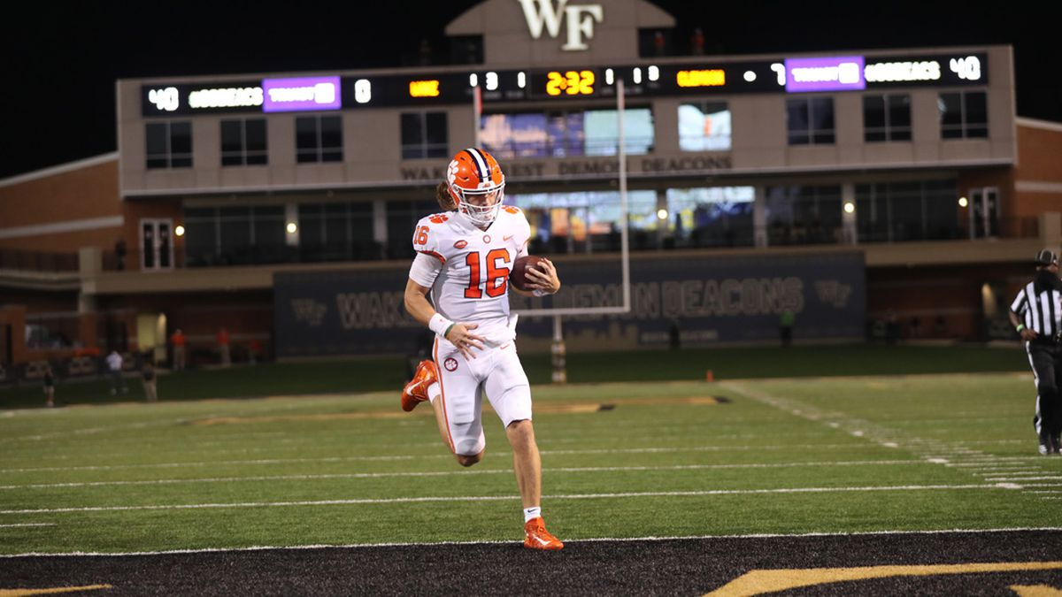 Trevor Lawrence trots into the end zone for the touchdown.
