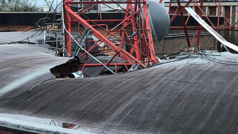 Broadcast tower falls on KPLC-TV studios in Lake Charles, La. during Hurricane Laura on...