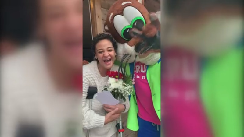 WATCH: Olly Otter cheers up cancer patient during surprise visit
