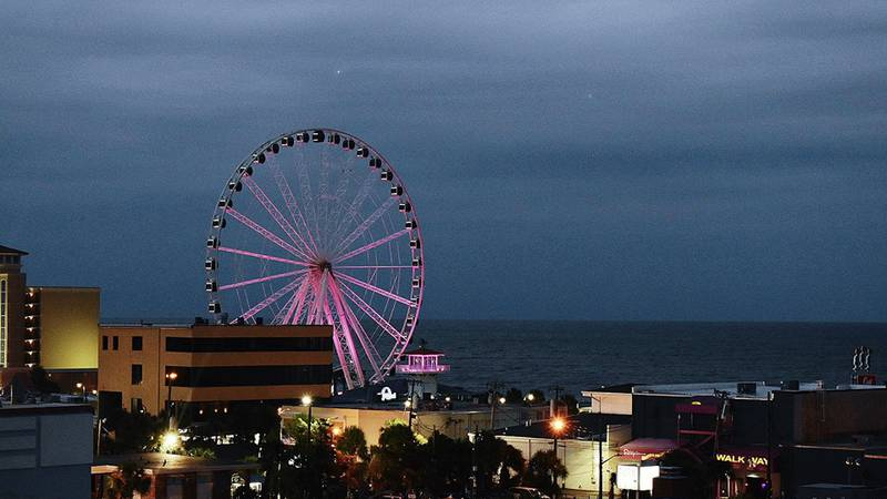 The Myrtle Beach SkyWheel has gone purple for the week to signify Domestic Violence Awareness...
