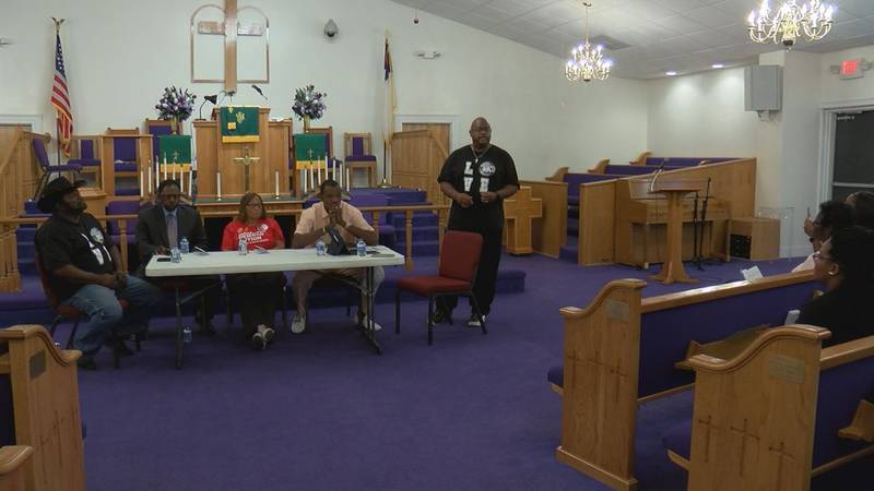 Members of the Sumter community met at St. Paul AME Church Shaw church to address gun violence...
