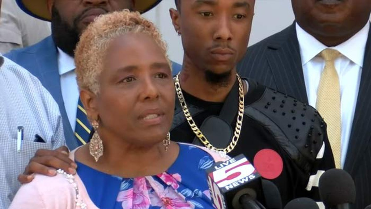 Amy Sutherland speaks about her son, Jamal, who died while in custody at the Al Cannon...