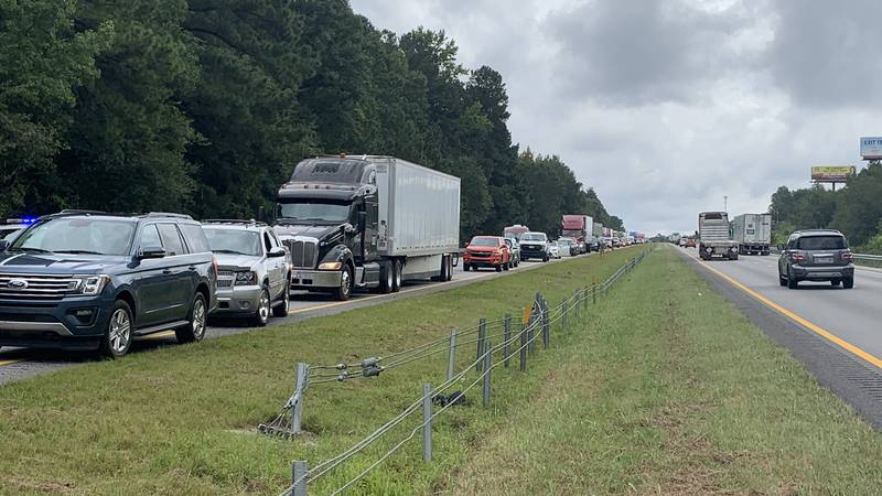 All lanes of I-26 westbound near Old Sandy Run are blocked, officials say.