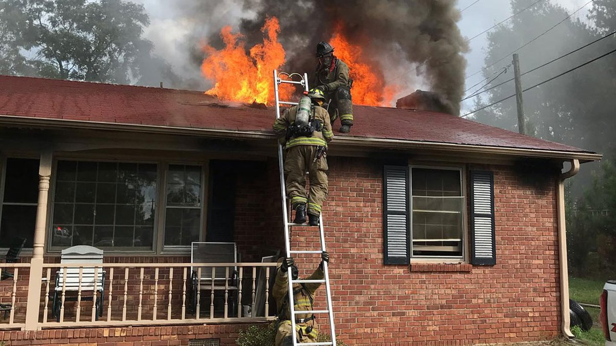 Firefighters were able to extinguish the flames at this home on Oak Street Extension Thursday...